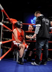 Kevin Dee in between rounds in Ottawa's Fight For The Cure. Coached by Final Round's Eric Bellanger and FTEC Founder Jennifer Huggins