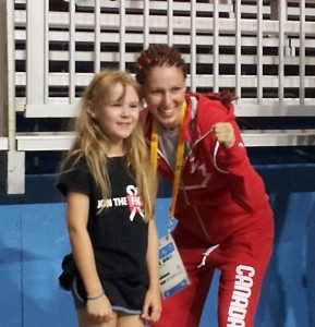 51kg Women's Elite Boxing GOLD Medalist posing with Abbey after her fight in the Pan Am Games. Abbey's Mom Dawn Ramsey-Brown fought in the 2014 Fight To End Cancer.