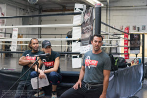 Left to Right: Virgil Barrow (Fight Team Captain), Jennifer Huggins (Founder, Executive Director) and Sean Donovan (FTEC2015 Main Event) Preparing the fighters for whats to come. Photo Credit: Karan Patel