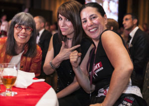 Left to Right: Leslie's Mom (Evelyn Hannon) Leslie's Sister (Erica Ehm) and Lelsie Ehm celebrating after her fight in Fight To End Cancer 2015