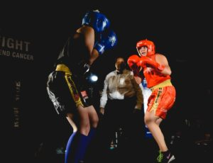 Natasa Jamnik-Sousa (Blue) Vs. Samantha Krystantos (Red) in what was one of Fight To End Cancer's most talked about fights in the 2016 Charity Boxing Gala. Photo Credit: Dayrit Photography