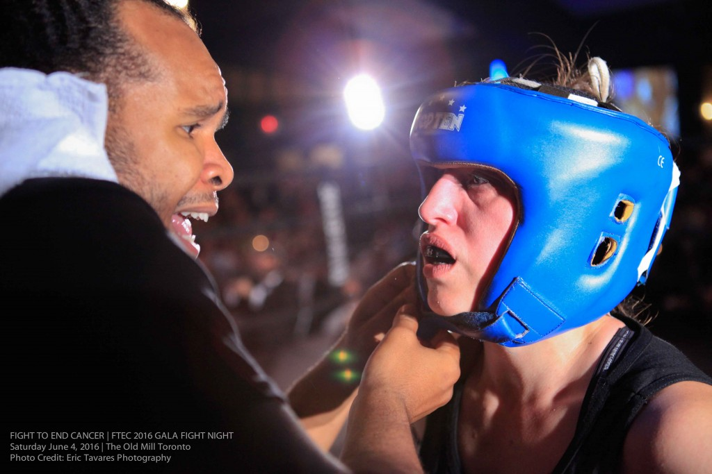 Fight Team Head Coach, Virgil Barrow, gives Co-Main Event's Natasa Jamnik-Sousa final instruction, as she heads into round 3 of her fight. Photo Credit: Eric Tavares