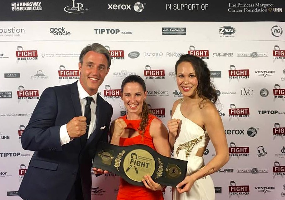 Left to Right: MC & Host, Ben Mulroney, Canadian Olympic Boxer, Mandy Bujold and FTEC Founder, Jennifer Huggins on the Red Carpet at the 2016 Fight To End Cancer Gala