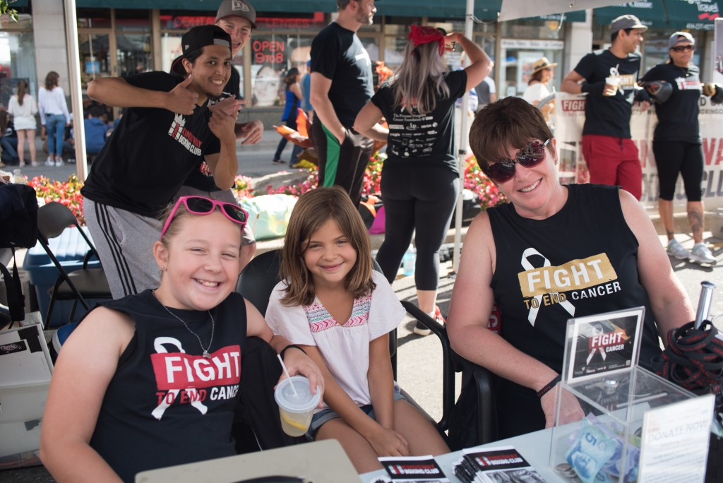 Left to Right: Megan, Eden and Betty Ann work to spread the word about Fight To End Cancer Photo Credit: Rebecca Freeman