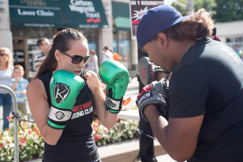 Coaches Jennifer and Virgil show off their skills as they take boxing to the streets of the Kingsway Photo Credit: Rebecca Freeman