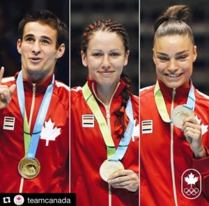 The gold medalists for boxing in the 2015 Pan Am Games Left to Right: Arthur Biyarslanov (64 kg) - Mandy Bujold (51kg) - Caroline Veyre (60kg)