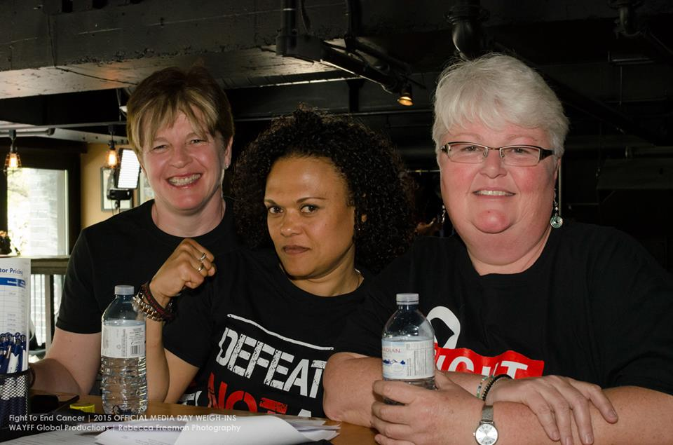 Left to right; Betty-Ann Mosher, FTEC 2013 fighter Shireen Fabing, Lynn Mosher at Fight to End Cancer Media Day 2015