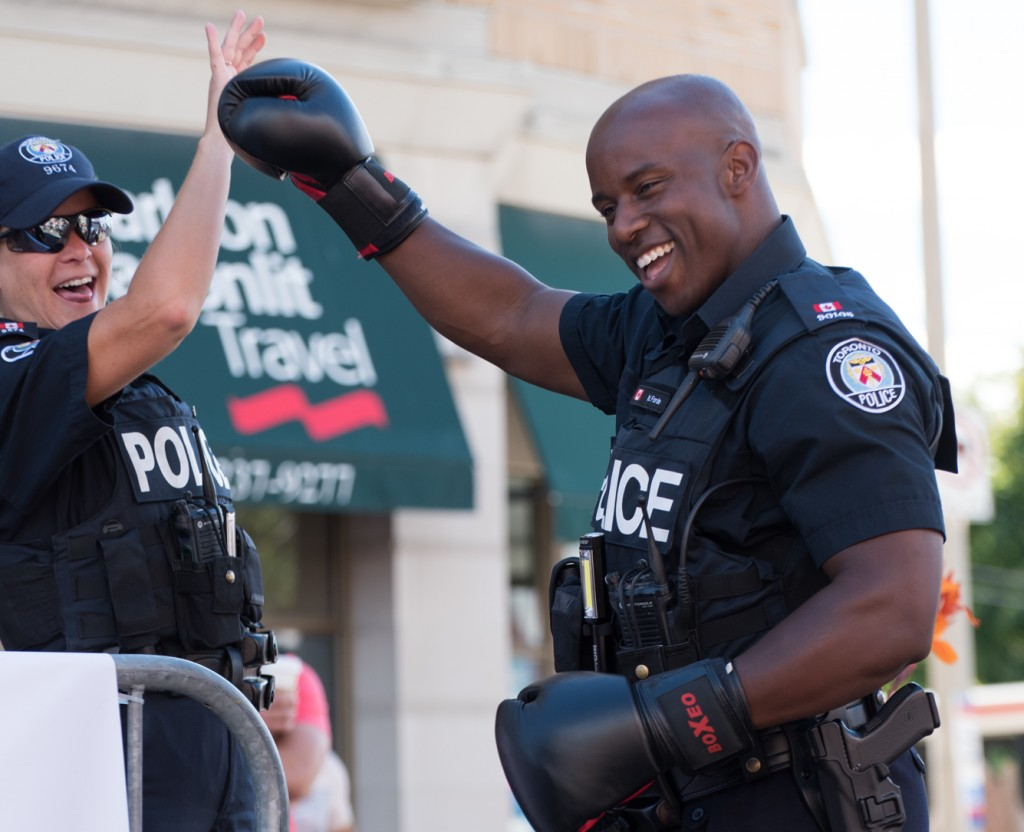 The new 400 Punch Challenge record was set on Sunday at the Taste of the Kingsway. Toronto Police Officer Nelly Forde smashed the old record and setting the bar high at 572!! Photo Credit: Rebecca Freeman