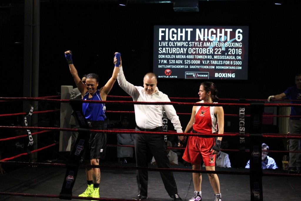 "Shireen ""The Machine"" Fabing declared the winner by unanimous decision at last weekends fights in mississauga. Photo Credit: Luis Parades"