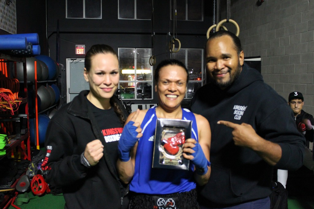 Shireen, post fight, with her coaches Jennifer Huggins and Virgil Barrow