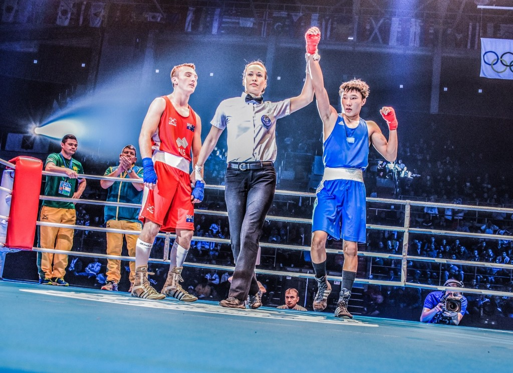 Photo Credit: AIBA Internation Boxing Association | 2016 Mens Youth World Championships, Saint Petersburg Russia - Jennifer Huggins (Referee ) Australia vs. Kazakhstan