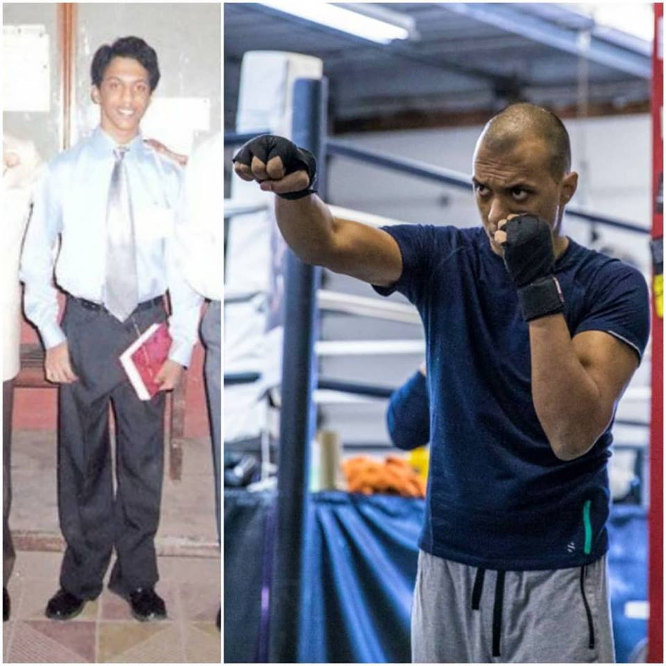 The picture on the left shows Zeus standing unassisted post the surgery (in 2004) and the one on the right was taken two months ago (Jan 2018) shortly after being medically cleared to fight able-bodied fighters and applying for my amateur boxing license.