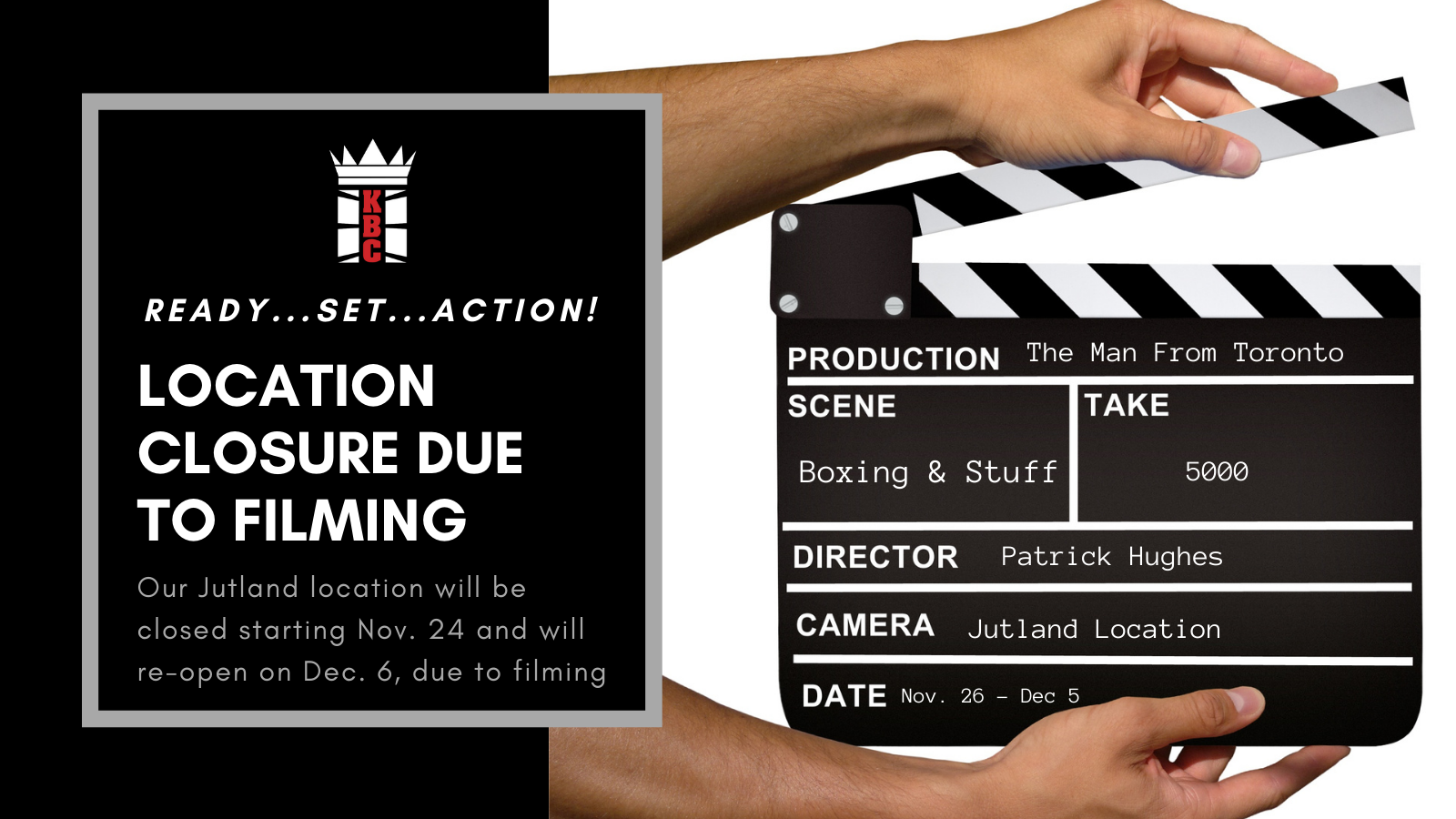LOCATION CLOSURE: Temporary Jutland Closure Due To The Filming Of 'The Man From Toronto'